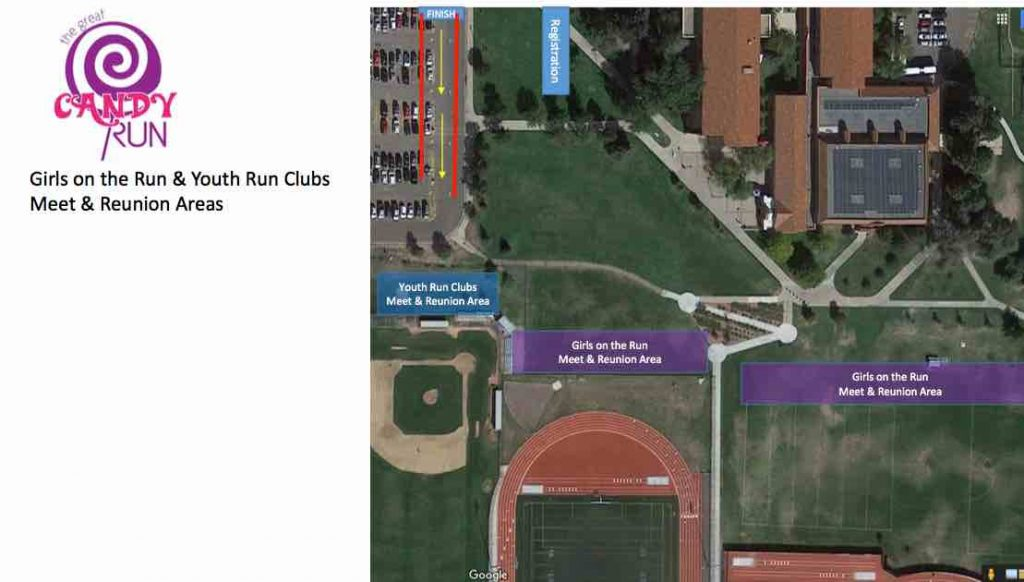 Girls on the Run Meet Up areas at Great Candy Run Denver 2017