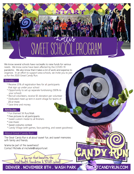 flyer about how schools can get involved in the the Great Candy Run. Text is on this page also.